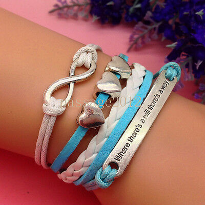 NEW DIY Fashion Heart Leather Cute Charm Bracelet plated Silver C118