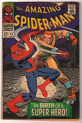 MARVEL Comics SPIDERMAN SILVER age #42 1966 BIRTH SUPERHERO STORY AMAZING VG