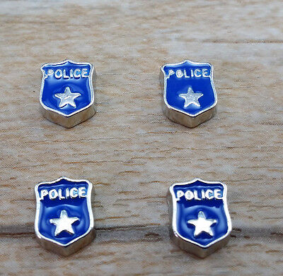 NEW DIY 4pcs Five Star Police Floating Charm for Glass Living Memory Locket C14