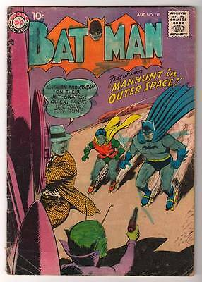 DC Comics BATMAN silver age #117 3.5  VG- 1958 Manhunt in outer space