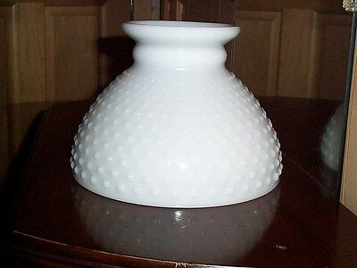 White Milk Glass Hobnail Lamp Shade Vintage GWTW Replacement Globe Oil or Electr
