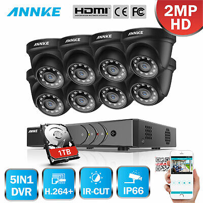 ANNKE 8CH AHD DVR HDMI 960P Night Vision 2000TVL CCTV Security Camera System 1TB