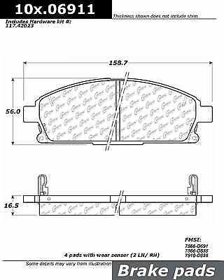 Posi-Quiet Extended Wear w/Shims & Hardware fits 1996-2004 Nissan Path