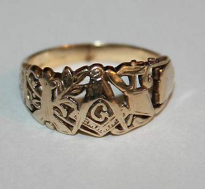 Rare Collectable 9ct Gold Opening Secret Compartment Carved Masonic Ring size w