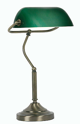 Retro Bankers Lamp Antique Brass with Green Shade Vintage style Bankers Lamp
