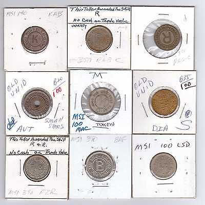 9 Different Identified Mfg. Stock Initial Amusement Tokens Circulated
