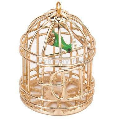 Metal Bird Cage With Bird Birdcage Miniature for Dollhouse Gold Tone 1:12 Scale