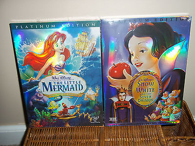 Disney's The Little Mermaid and Snow White DVDS New