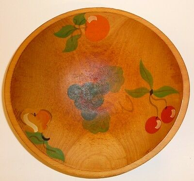 Primative Early Americana Hand Painted Wooden Fruit Bowl Collectible