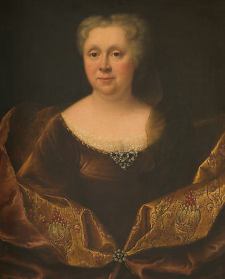 Fine Large 18th Century French Portrait of a Lady Madame Antique Oil Painting
