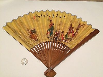 Old Antique Vintage Chinese Japanese Folding Fan Calligraphy Decorations Great!!