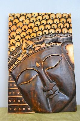Hand Carved Golden Buddha Head Wall Plaque Sculpture Painted Solid Wood SALE!
