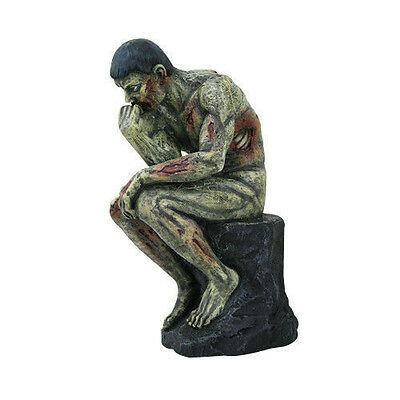 """Zombie The Thinker Le Penseur Inspired Statue Horror Decoration Figurine 8""""H"""