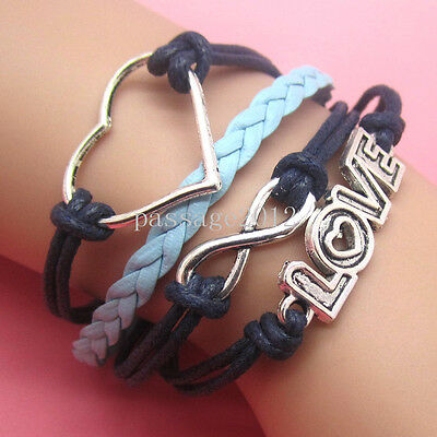 NEW DIY Hot Fashion LOVE heart Leather Cute Charm Bracelet plated Silver A68