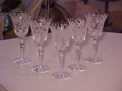 FIVE BEAUTIFUL MORGANTOWN CRYSTAL ETCHED CATHAY BIRDS & FLOWERS 9 OZ GOBLETS -NR
