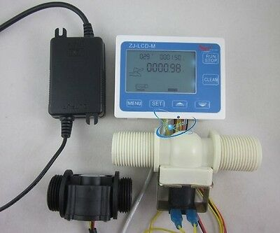 "G1"" Water Flow Control LCD Display+Flow Sensor Meter+Solenoid Valve+24V power"