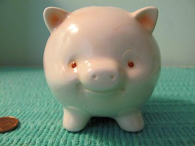 Vintage Baby's First Piggy Bank – Fat Little Porcelain Pig with Cute Smile