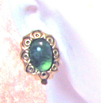 ANTIQUE MATTE GOLD OVAL SCROLL FRAME MARBLED GREEN CABOCHON CLIP-ON EARS **NWT