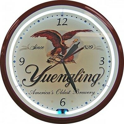 """YUENGLING LAGER NEON OFFICIAL CLOCK """"AMERICA'S OLDEST BREWERY"""" LOGO"""