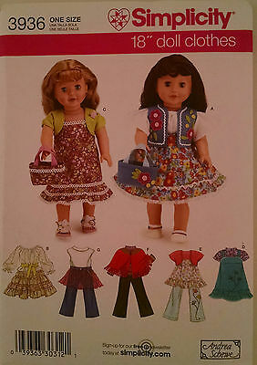 """Simplicity 3936 American Made Sewing Pattern for 18"""" Girl doll clothes"""