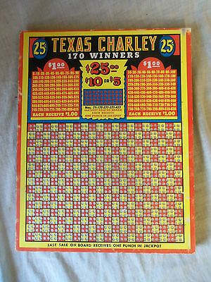 Antique Texas Charley Gambling 25 Cent Punch Board Tavern Bar Game Unpunched