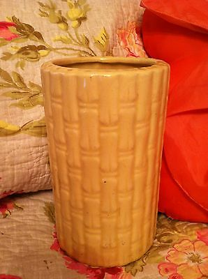 VINTAGE YELLOW SHAWNEE USA POTTERY BAMBOO VASE