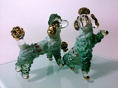 2 POODLE HAND PAINT GREEN BLOWN GLASS ART GOLD TRIM FIGURINE DECOR/DOG COLLECT