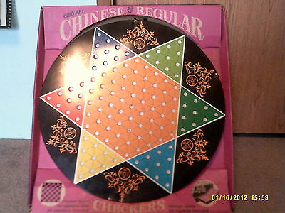 vintage CHINESE CHECKERS metal board ohio art co combination no 539 with box