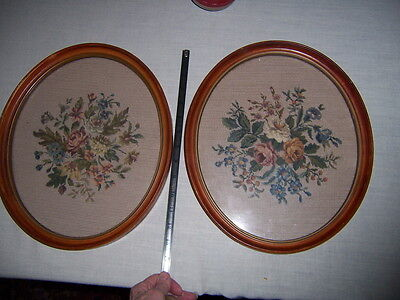 vintage needlework petite point and needlepoint floral pictures oval in frames