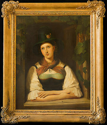 Huge Signed 19th Century Portrait of a Lady Window Grape Antique Oil Painting