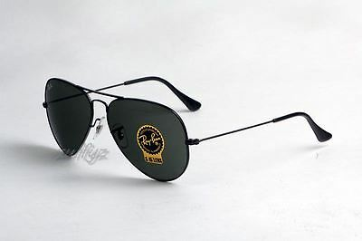 Ray Ban Aviator RB 3025 L2823 Black Frame G15 Green Lens Large 58mm Sunglasses