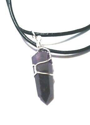 Amethyst Quartz Crystal Wire Wrapped Pendant, Black Leather Cord, healing chakra