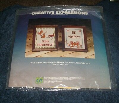 CREATIVE EXPRESSIONS COUNTED CROSS STITCH KIT THINK POSITIVELY/BE HAPPY Set of 2