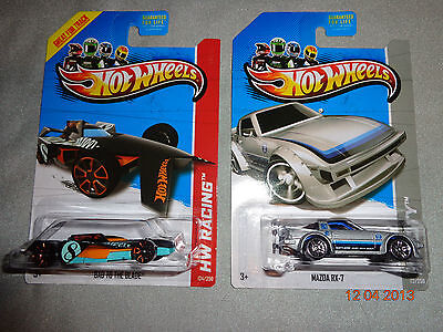 2013 Hot Wheels Treasure Hunt lot of 2 Mazda RX-7 & Bad to The Blade P & Q case