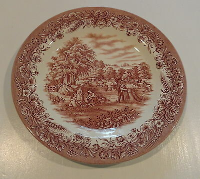 "CHURCHILL ENGLAND CURRIER & IVES BROWN HARVEST 10 "" DINNER PLATE HERITAGE"