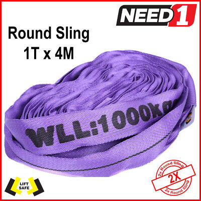 1 T  X 4M  Round Lifting Sling X 2 Slings 100% Polyester Comes With Test Cert