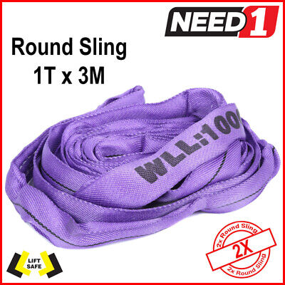 LIFT SAFE - 2x - 1T by 3m - Round Lifting Slings - 100% Polyester - Test cert
