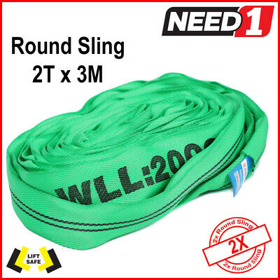 2 Pk Round Lifting Sling  2T X 3 Metre 100% Polyester With Test Cert