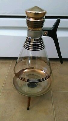 MID CENTURY RETRO/VINTAGE COFFEE/TEA CARAFE WITH WARMING STAND. FUN AND FUNKY!