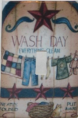 Laundry Wash Day Stars Single switch plate  cover