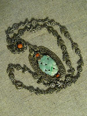 Asian Chinese Sterling Silver GILT NECKLACE INSET JADE with Coral
