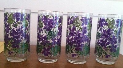 Set Of 4 Vintage Glasses With Painted Viotlets On The Outside