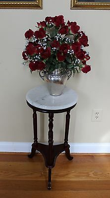 "Cherry Finish, Marble Top, Round Accent Table -  27 1/2"" High NEW"