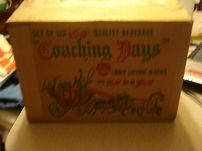VINTAGE GLASSWARE  (6) IN ORIGINAL DISPLAY BOX  BY LIBBY COACHING DAYS