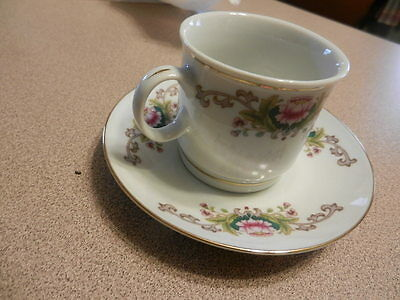 4 cup and saucer small  LILING - Fine China   Gold Rim Floral cute and rare