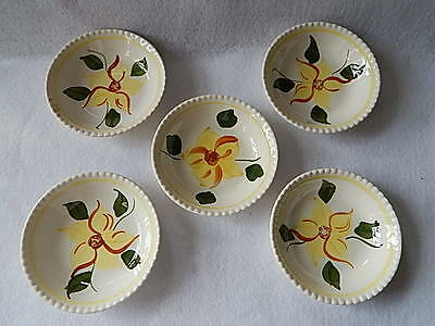Five Blue Ridge Hand Painted Underglazed Southern Potteries Yellow Flower Bowls