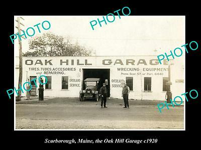 OLD LARGE HISTORIC PHOTO OF SCARBOROUGH MAINE, THE OAK HILL SERVICE STATION 1920