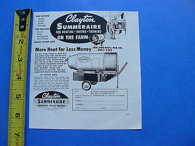 THE FARM - SPRING 1956 -AD- CLAYTON SUMMERAIRE PORTABLE SPACE HEATER /DRY /THAW