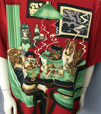 Dogs Series Playing Cards Poker Camp Shirt XL Dragonfly Cigars Smoking Drinking