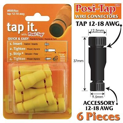 Posi-Tap 12-18 Awg Wire Connectors, Reusable, No Crimping - 6 Pk